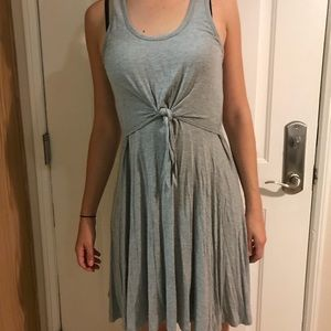 Tie front grey summer dress